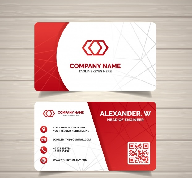 0448 - دانلود کارت ویزیت خلاقانه با طرح قرمز و سفید