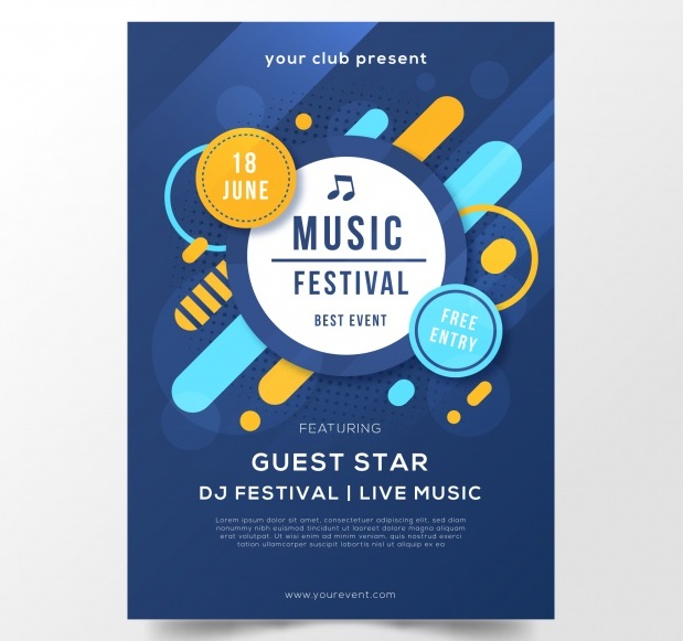 دانلود رایگان تراکت آبی برای جشنواره موسیقی