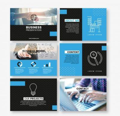 blue stationery business presentation  - دانلود کارت ویزیت کسب و کار آبی