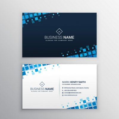 business card with blue squares 1017 4293 - دانلود کارت ویزیت کسب و کار با مربع آبی بصورت رایگان