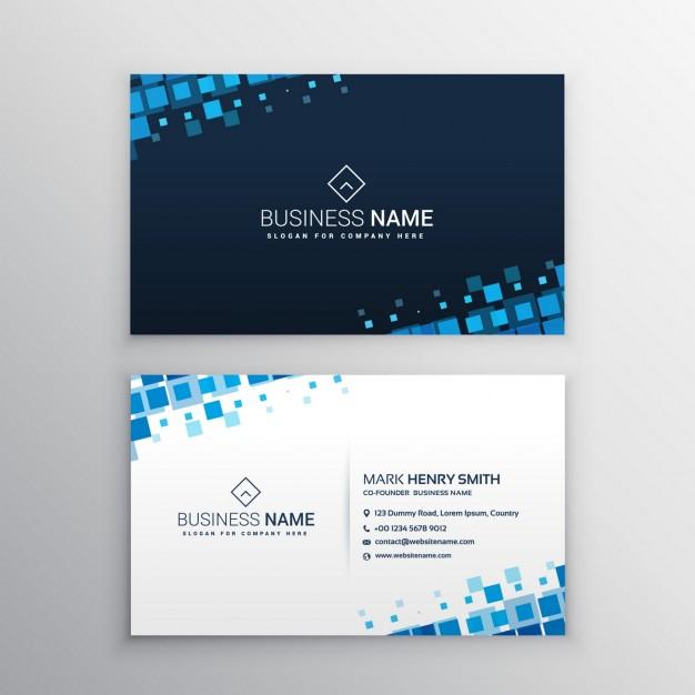 دانلود کارت ویزیت کسب و کار با مربع آبی بصورت رایگان