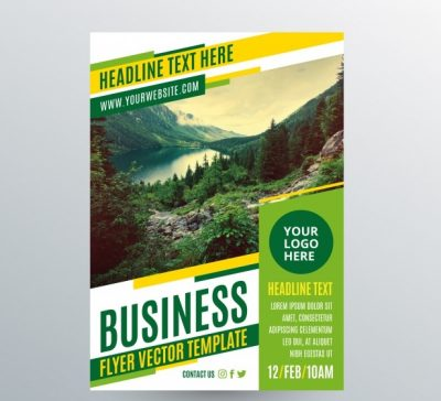 business flyer ape 23 2147760118 - دانلود کارت تراکت با قالب سبز با زمینه طبیعت