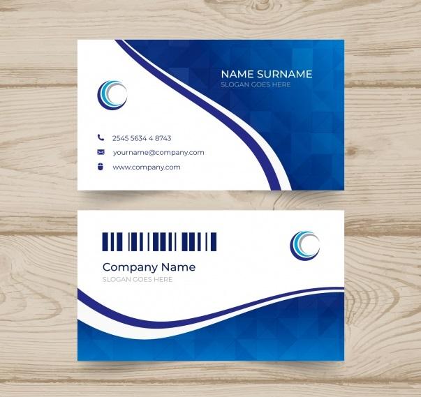 دانلود رایگان کارت ویزیت انتزاعی سفید و آبی