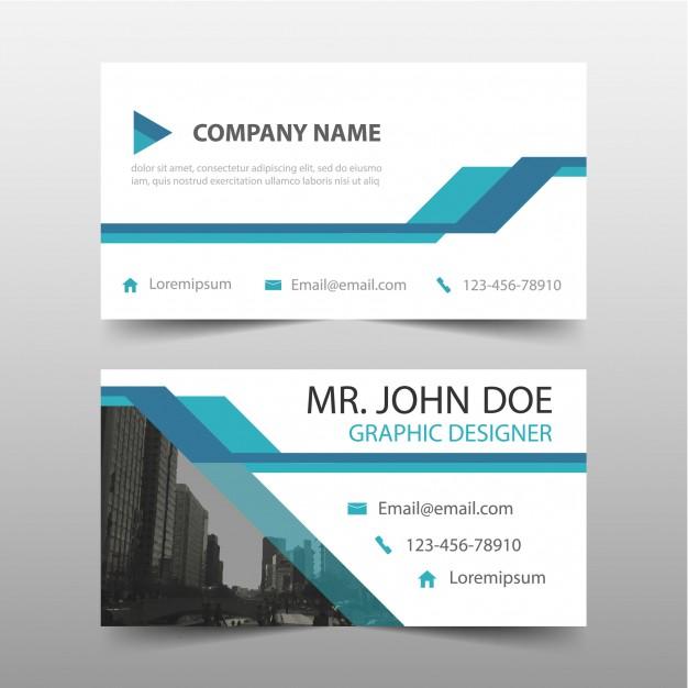 دانلود طرح لایه باز کارت ویزیت تجاری آبی همراه با عکس