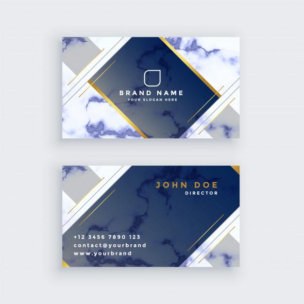 کارت ویزیت تجاری آبی و سفید