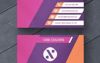 business card 1 320x202 - دانلود طرح لایه باز کارت ویزیت تجاری بنفش و نارنجی