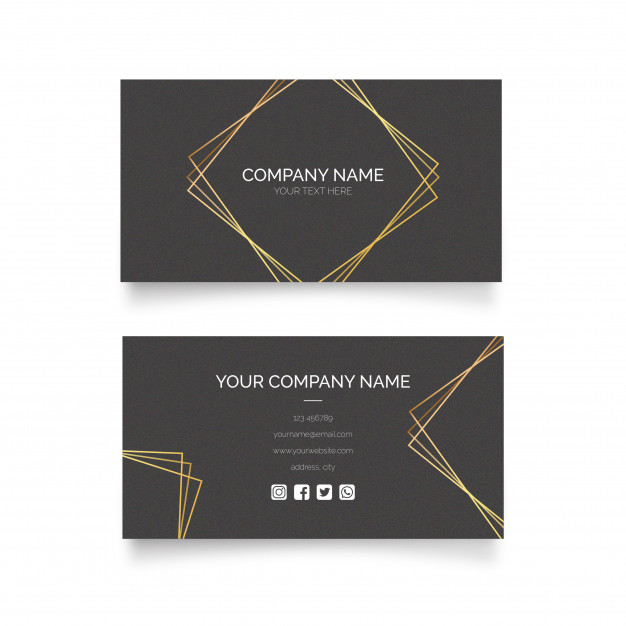 طرح لایه باز کارت ویزیت تجاری با رنگ طلایی