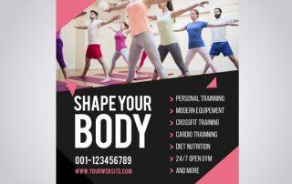 pink gym flyer 320x202 - دانلود طرح لایه باز تراکت باشگاه ورزشی همراه با عکس