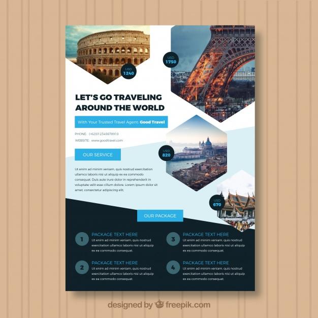 فایل لایه باز تراکت آگهی مسافرتی با عکسی از شهر مقصد