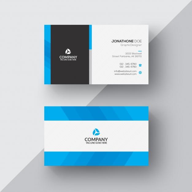 فایل لایه باز کارت ویزیت ب و کار آبی و سفید