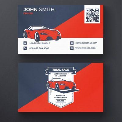 فایل لایه باز کارت ویزیت کسب و کار مسابقه اتومبیل رانی
