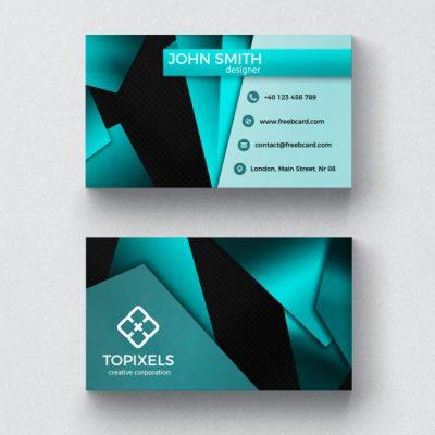 فایل لایه باز کارت ویزیت کسب و کار مدرن با اشکال 3 بعدی