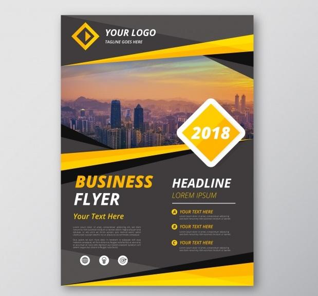 1 1 - دانلود کارت تراکت کسب و کار با ترکیب زرد و خاکستری