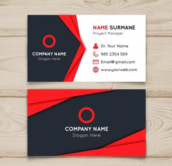دانلود رایگان کارت ویزیت با رنگ های سفید سیاه و قرمز