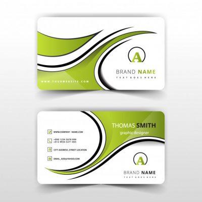 green abstract swirl business card 1409 584 - دانلود رایگان کارت ویزیت سبز انتزاعی