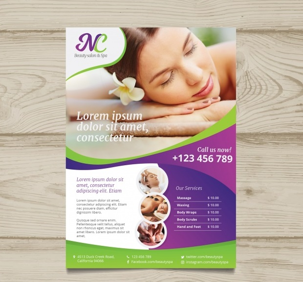 poster for a spa center with a photo 23 2147790350 - دانلود رایگان تراکت برای یک مرکز آبگرم با یک عکس