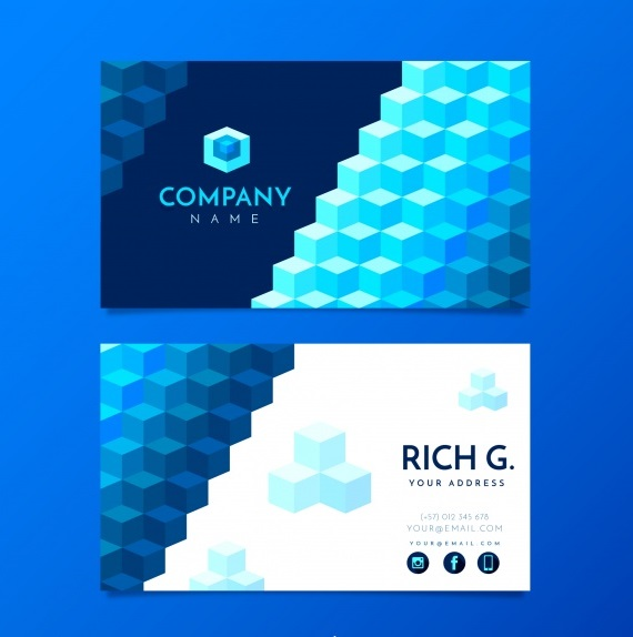 دانلود کارت ویزیت تجاری و مدرن با اشکال هندسی