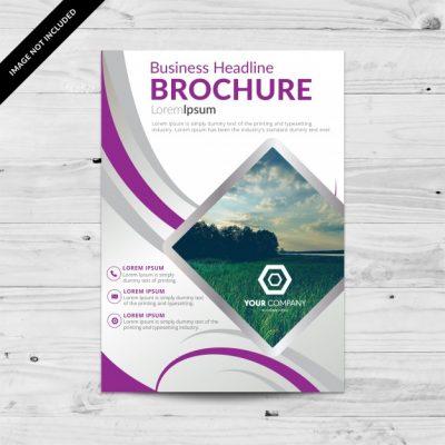 brochure template  - دانلود تراکت تجاری سفید و بنفش