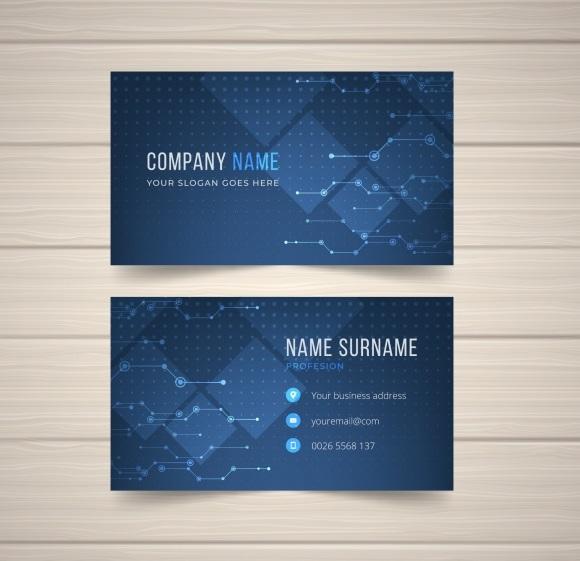 کارت ویزیت آبی با طراحی مدرن