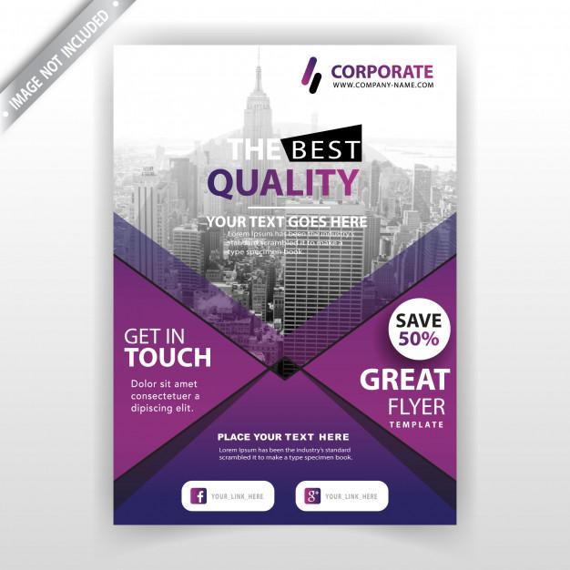 دانلود تراکت کسب و کار تجاری با رنگ بنفش همراه با عکس