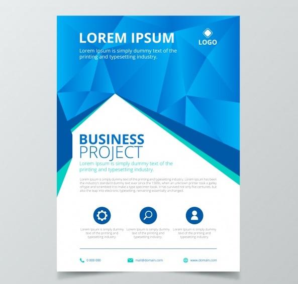 creative business flyer concept - دانلود تراکت پروژه های تجاری با رنگ سفید و آبی