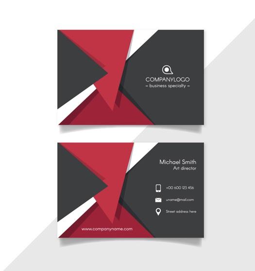 دانلود کارت ویزیت تجاری مدرن با اشکال هندسی قرمز و مشکی