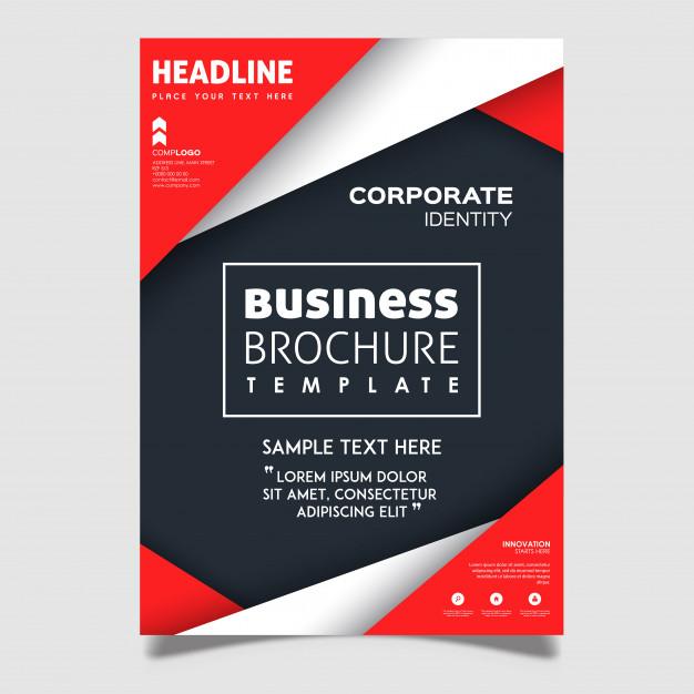 creative vector brochure designs 1340 6954 - دانلود تراکت با طراحی خلاقانه و اشکال قرمز