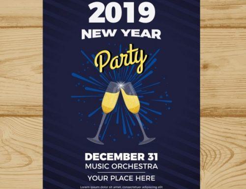 دانلود تراکت برای سال نو 2019 با رنگ مشکی و آبی