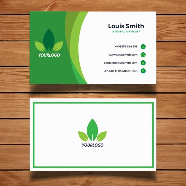 کارت ویزیت تجاری با رنگ سبز