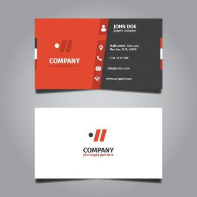 red and grey corporate business card 1051 562 - دانلود کارت ویزیت کسب و کار تجاری با رنگ قرمز و خاکستری