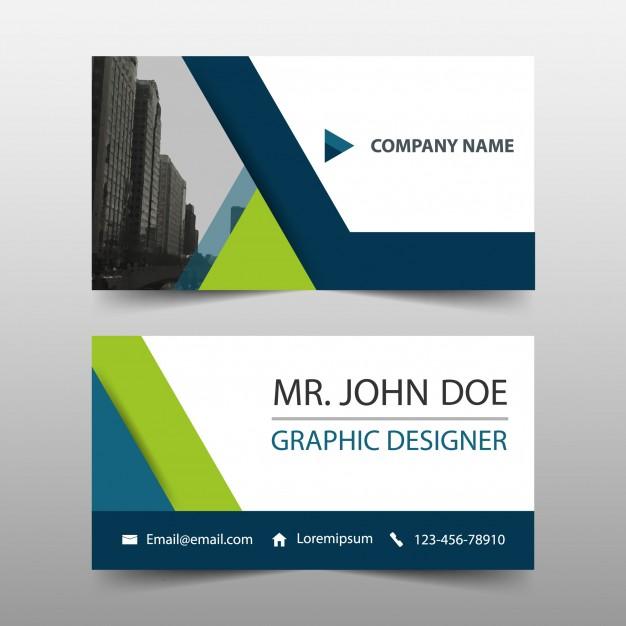 دانلود کارت ویزیت کسب و کار ساده با رنگ سبز و آبی