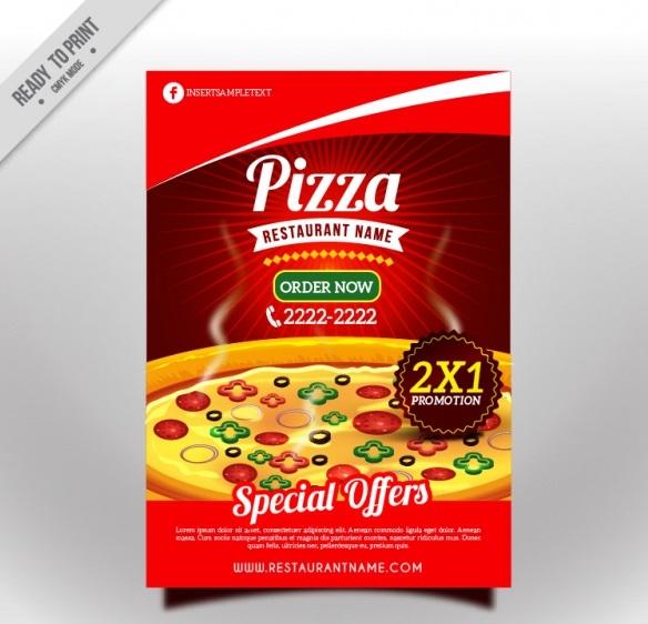 تراکت پیتزا با طراحی جذاب